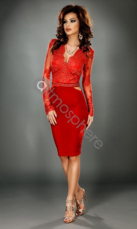 rochie-trei-sferturi-din-catifea-rosie-s-1