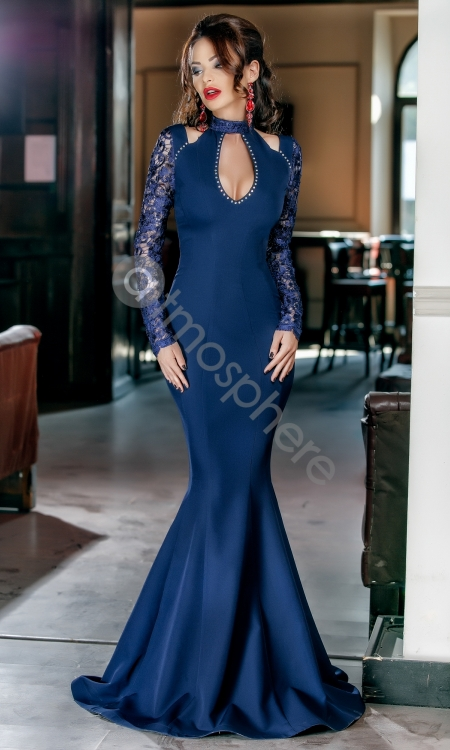 rochie-lunga-bleumarin-cu-maneci-din-dan-