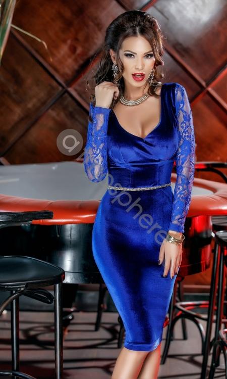 rochie-trei-sferturi-catifea-albastra-si-1-